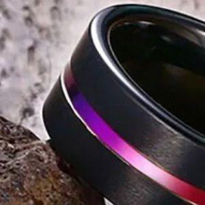 Unisex Tungsten Carbide Steel Wedding Band w/Inlay